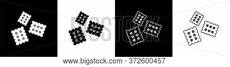 Set Cracker Biscuit Icon Isolated On Black And White Background. Sweet Cookie. Vector Illustration