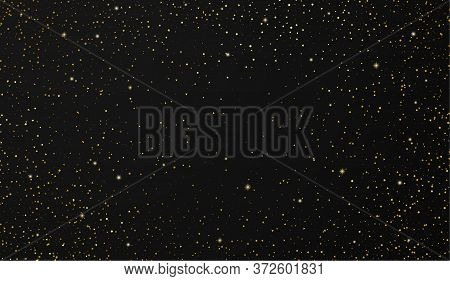 Twinkling Stars Back Background With Sparkling Elements. Dark Galaxy Atmosphere Illustration