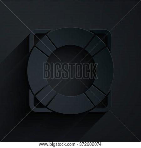 Paper Cut Lifebuoy Icon Isolated On Black Background. Lifebelt Symbol. Paper Art Style. Vector Illus