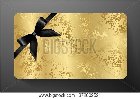 Gift Card With Black Bow (ribbon) On Gold Background. Golden Blank Template Useful For Any Design, S