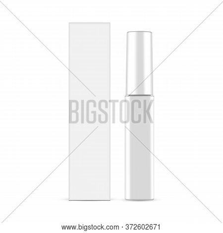 Glossy Mascara Tube With Packaging Box Mockup Isolated On White Background. Vector Illustration