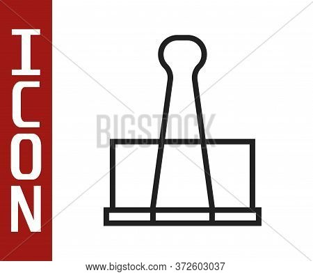 Black Line Binder Clip Icon Isolated On White Background. Paper Clip. Vector Illustration