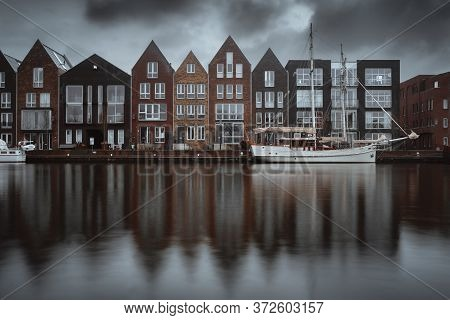 Haarlem City Canal Old Town. Netherlands (holland)