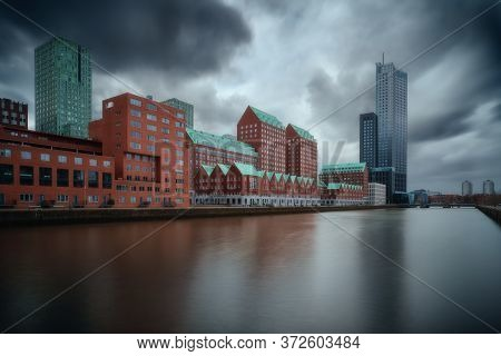 Rotterdam City Skyline Cityscape, Netherlands (holland). View Of Downtown