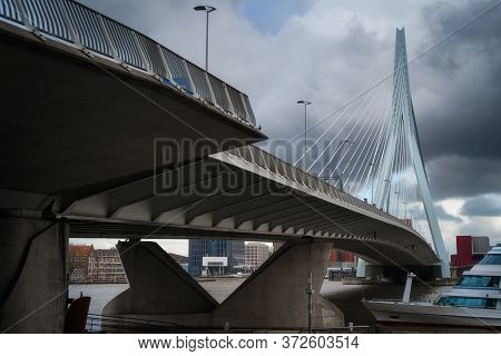 Rotterdam City Cityscape, Netherland (holland). View Of Downtown And Erasmus Bridge