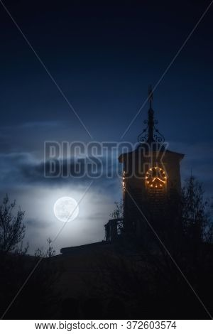 Supermoon In Rotterdam City, Netherland (holland) At Night. View Of Clocktower And Full Moon By Tele