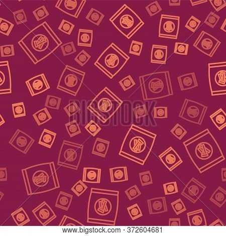 Brown Line Hard Bread Chucks Crackers Icon Isolated Seamless Pattern On Red Background. Vector Illus
