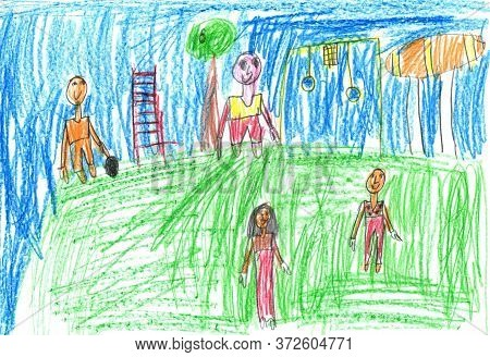 Child Drawing Of A Happy Sports Family With Kids,having Fun Outdoor.active Healthy Lifestyle Concept