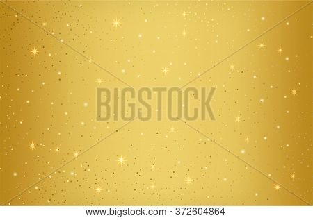 Twinkling Stars Golden Background With Sparkling Elements. Gold Galaxy Atmosphere Illustration
