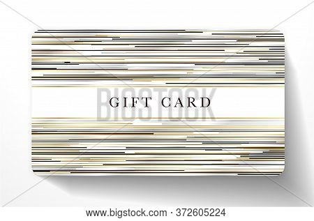 Gift Card With Horizontal Gold, Black, Silver Glitch Lines On White Background. Royal Template Usefu