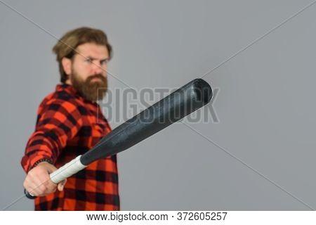 Baseball Game. Man With Baseball Bat. Man Holds The Bat. Baseball. Sport Bat. Sport Equipment. Baseb