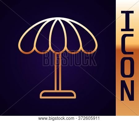 Gold Line Sun Protective Umbrella For Beach Icon Isolated On Black Background. Large Parasol For Out