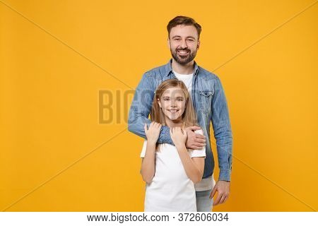 Smiling Bearded Man In Casual Clothes Have Fun With Cute Child Baby Girl. Father Little Kid Daughter