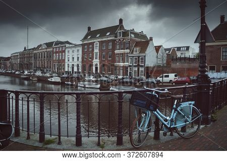 Haarlem, Netherlands - March 6, 2020: Canals In Haarlem City Center Old Town