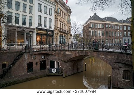 Utrecht, Netherlands - March 8, 2020: People Are Walking On The Street In Utrecht City Center Old To