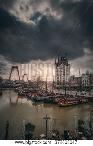 Rotterdam, Netherlands - March 9, 2020: View Of Oude Haven In Rotterdam