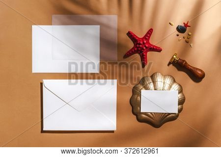 Empty Stationery Minimal Mockup Template. Envelope, Business Card, Red Sea Star, Tropical Palm Leaf