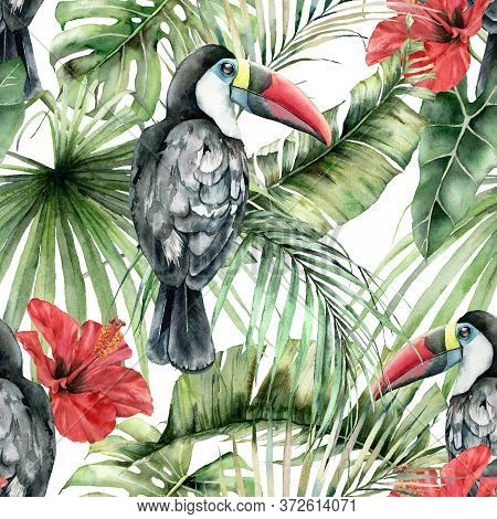 Watercolor Tropical Seamless Pattern With Toucans And Hibiscus. Hand Painted Birds, Flowers And Jung