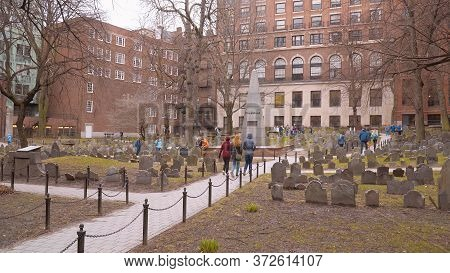 Granary Burying Ground In Boston - Boston. Usa - April 5, 2017