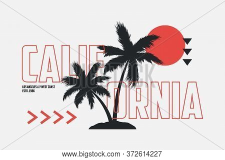 California T-shirt Design With Palm Trees And Outline Text. Modern Typography Graphics For Tee Shirt