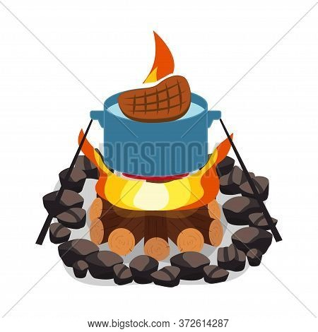 Camping Bonfire, Burning Woodpile And Round Of Stones, Campfire Or Fireplace On Firewood Vector Stea