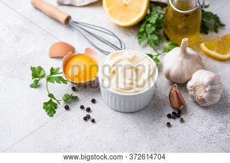 Homemade Mayonnaise Sauce With Ingredient For Cooking