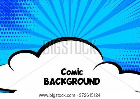 Comic Book Cartoon Speech Bubble Cloud For Text. Cartoon Puff Cloud Blue Background For Text Templat