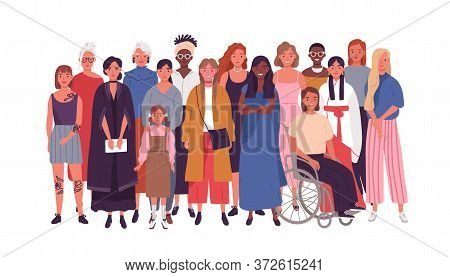 Crowd Of Joyful Multinational Woman Standing Together Vector Flat Illustration. Smiling Diverse Fema