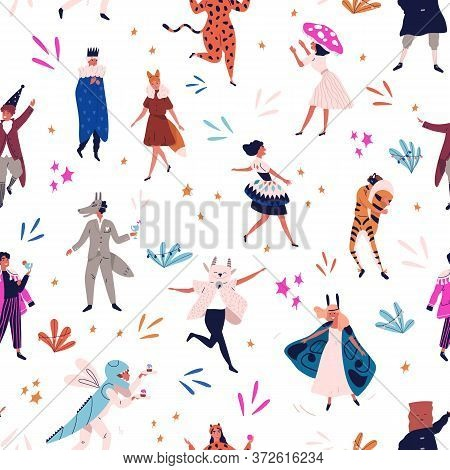 Happy Festive Man And Woman In Funny Masquerade Apparel Seamless Pattern. Joyful People At Carnival