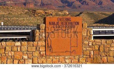 Entering Navajo Reservation In Utah- Utah, United States - March 20, 2019