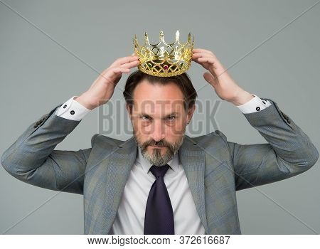 Fancy Himself As King. Bearded Man Wear King Crown. Big Boss. Leader And Leadership. Businessman Or