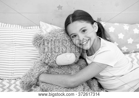 Pretend Friend. Happy Kid Cuddle Teddy Bear. Little Girl Smile With Toy Friend. Friend And Friendshi