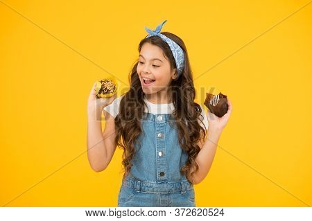 Retro Girl Hold Easter Cake. Cute Little Girl With Tasty Muffins. Small Kid Eating A Delicious Cake.