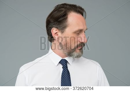 Age And Experience. Man Handsome Confident Fashion Model Wear Fashionable White Shirt. Sense Of Conf