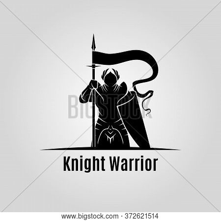 Knight With Shield And Spear Vector Silhouette