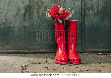 Red Rainy Rubber Boots With Red Flowers Inside Them Against Green Background. Copy Space
