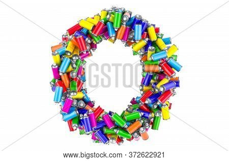 Letter O From Colored Spray Paint Cans, 3d Rendering Isolated On White Background