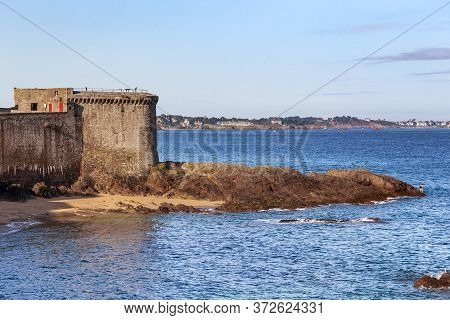 Saint-malo, France - September 3, 2019: This Is The Bidouin Tower, One Of The Defensive Bastions Of