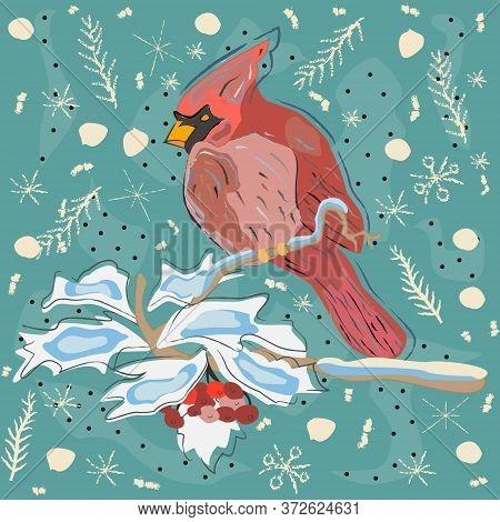 Sweet Pattern With Cardinal. Hand Drawn Scandinavian Style.