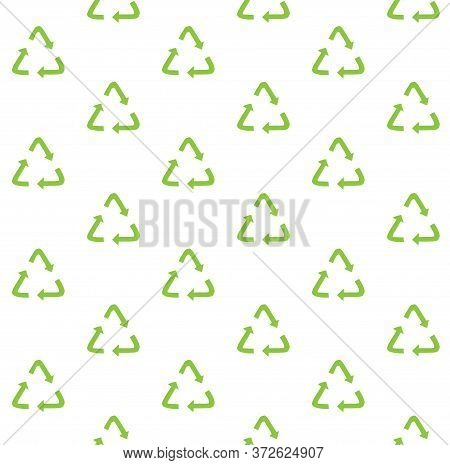 Vector Seamless Pattern Of Hand Drawn Doodle Sketch Recycle Reuse Eco Green Symbol Isolated On White