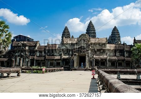 Angkor, Cambdia - December 09, 2016. An Amazing View Of Angkor Wat Is The Temple Complex In Cambodia