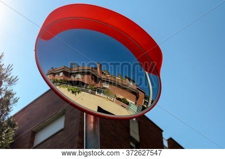 Convex Spherical Road Mirror. Road Mirror For Road Safety In The City