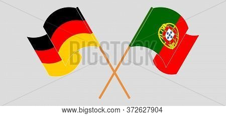Crossed And Waving Flags Of Portugal And Germany. Vector Illustration