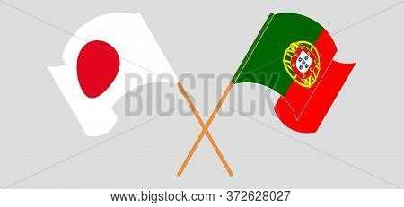 Crossed And Waving Flags Of Portugal And Japan. Vector Illustration