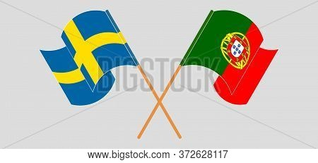 Crossed And Waving Flags Of Portugal And Sweden. Vector Illustration