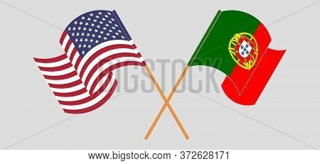 Crossed And Waving Flags Of Portugal And The Usa. Vector Illustration
