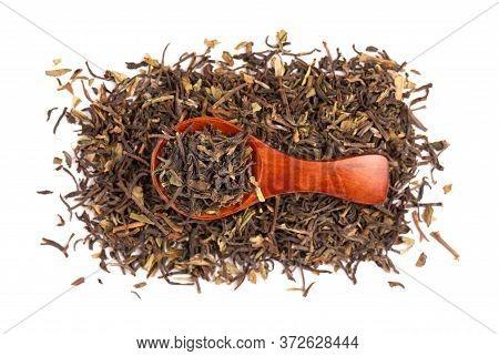 Black Tea Darjeeling, Isolated On White Background. Organic Tea. Top View. Close Up.