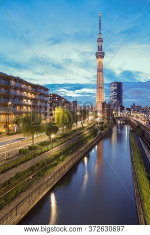 Tokyo - Sep 02 , 2013 : View Of Tokyo Sky Tree (634m) , The Highest Free-standing Structure In Japan