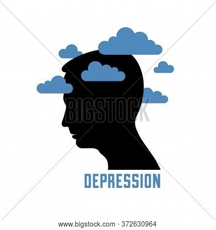 Depression Mental Health And High Anxiety Vector Conceptual Illustration Or Logo Visualized By Man F