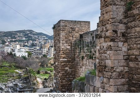 On Of The Tower Of Crusader Fortress In Byblos, Lebanon, One Of The Oldest City In The World